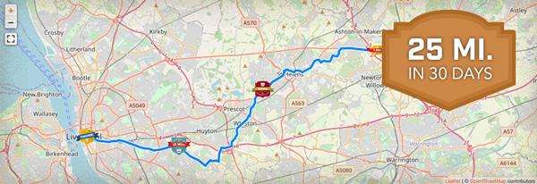 25 Mile Virtual Challenge Route