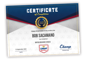 Champ Finisher's Certificate
