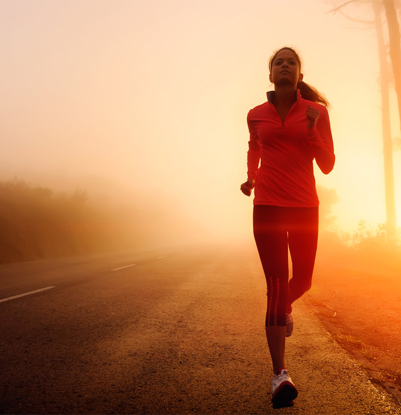 Woman running virtual challenge