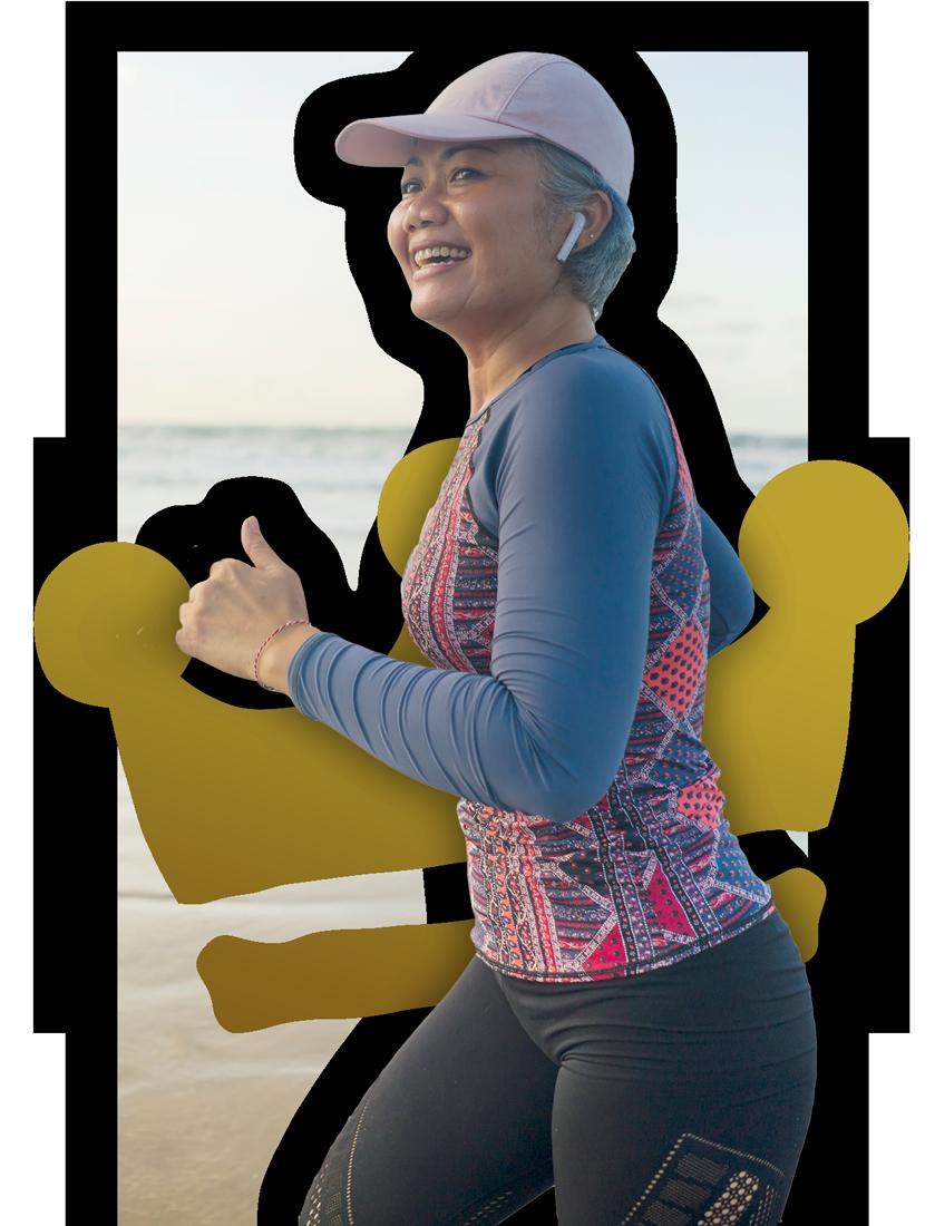 Asian woman running virtual challenge